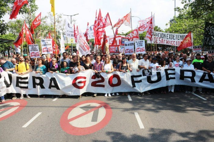 Finalizó la marcha contra el G20 en el Congreso de la Nación