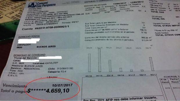 Malestar por boletas del servicio de  gas que llegan hasta más de 4.000 pesos