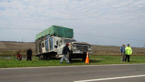 Un camión se despistó en la Ruta N° 5